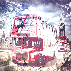 Wandbild City-Art LONDON Red Buses on Westminster Bridge