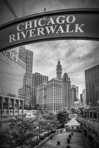 Wandbild CHICAGO Riverwalk | Monochrom