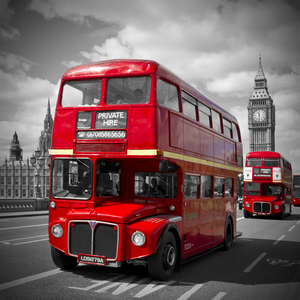 Wandbild LONDON Red Buses on Westminster Bridge