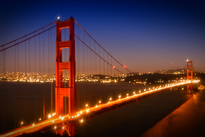 Wandbild Golden Gate Bridge am Abend