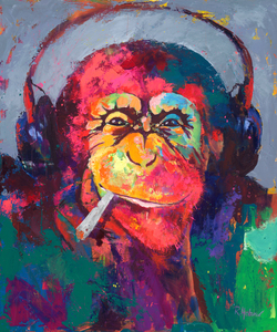 Wandbild Monkey M usic Smoking DJ