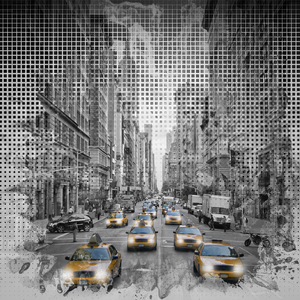 Wandbild Graphic Art NEW YORK CITY 5th Avenue Verkehr