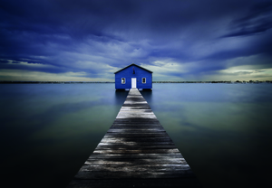 Wandbild The Blue Boatshed by Leah Kennedy