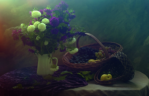 Wandbild Still life with flowers and grapes by Ustina Green