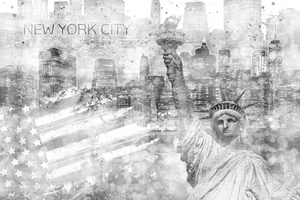 Wandbild Graphic Art MANHATTAN Collage | silber