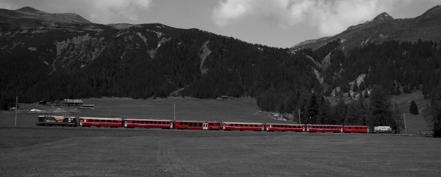 Rhaetische Bahn, Bernina Express, Graubuenden, Schweiz/Swiss train, Grison, Switzerland