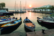 Wandbild harbour at sunset Torri del Benaco by Franco Cogoli/HUBER IMAGES
